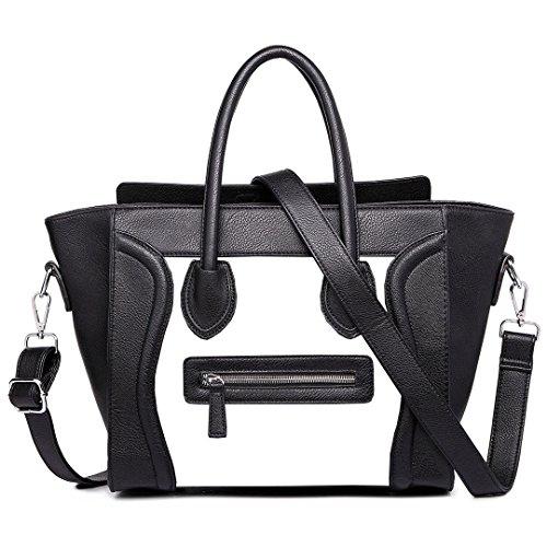 - 51hH6Dk8SgL - Women's Ladies Celebrity Designer Leather Tote Bag Smile Shoulder Handbag (Bl…
