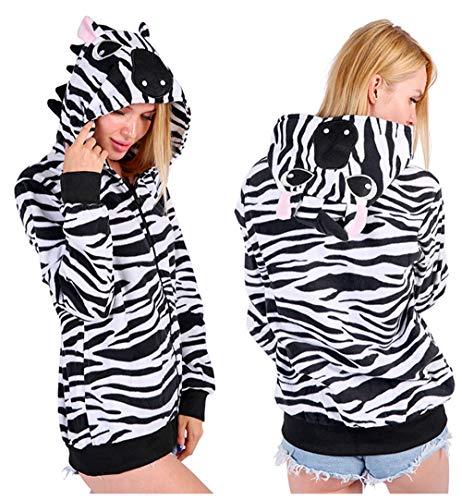 Erwachsene und Kinder Drache Zebra Fuchs Frosch Panda Kat Narwal Einhorn Cosplay Kostüm Jacken Sweatshirts Jumpsuit Trainingsanzug (Zebra, S (148-160cm))