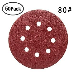 Maveek 50 Pieces 8 Holes Sanding Discs 80 Grit 5 inch Hook and Loop Sandpaper Assortment for Random Orbital Sander