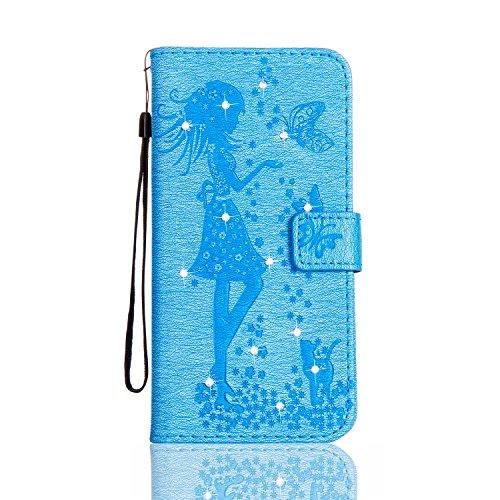 KaseHom iPhone 6/6S 4.7 Pollice Custodia in pelle Portafoglio Ragazza di Fairy Angel Carina GattoFarfallaFiore Modello ProgettareBlingLuccichio Sparkle Diamante (Con Gratuito Penna di Tocco) Stile Cielo blu