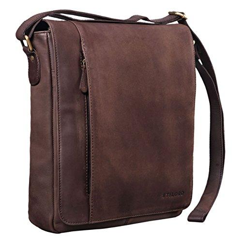 STILORD 'Paul' Umhängetasche Herren Leder Hochformat Messenger Bag im Vintage Design Ledertasche für 13,3 Zoll MacBook iPad DIN A4 Herrentasche Echtleder, Farbe:matt - Dunkelbraun -