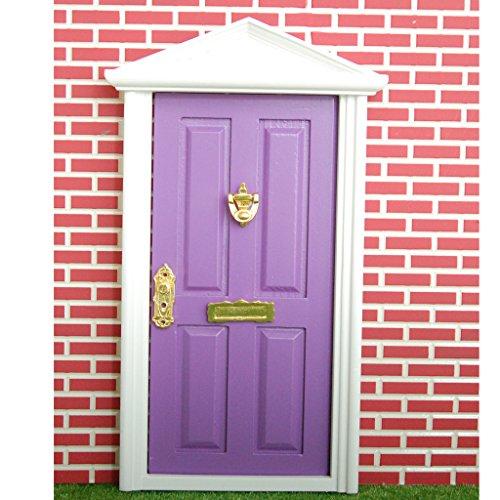 Scala 1/12 Porta In Legno A 4 Pannelli Con Chiave, Accessori Casa Delle Bambole In Miniatura, Viola