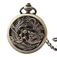 Lekima Pendant Pocket Watch Dragon Phoenix Engraved Roman Numeral Skeleton Mechanical Movement Automatic Clamshell Ethnic Style Single Alloy Chain Classical Gift For Men Women
