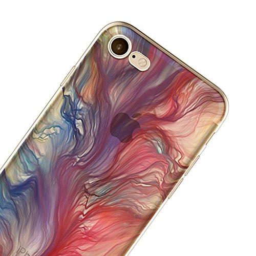 Sunroyal Ultra Slim TPU Silicone Coque Case pour iPhone 6 Plus / 6S Plus (5,5 pouces), Ultra Light Soft Souple Gel Transparent Clair 3D Vague Encre Créatif Coloré beau conception Housse Hull avec Ink  Modèle-01