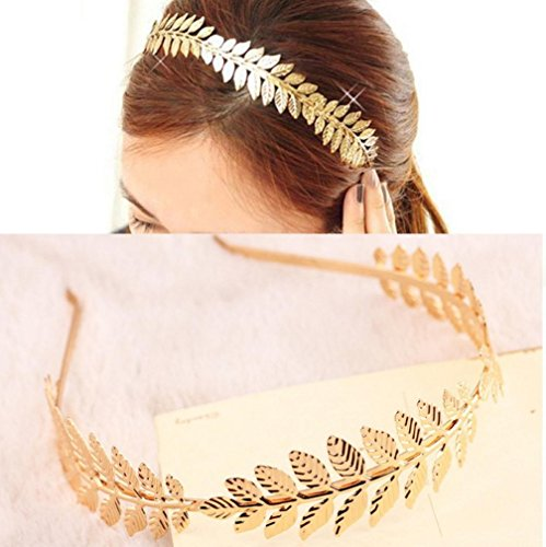 Damen Haarschmuck Armband DAY.LIN Big Leaf verlässt Hair Band Metall der Frau vertraglich gebunden Haarband Haarschmuck (Metall-mesh-kleid)