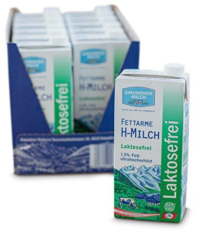 GMUNDNER MILCH Laktosefreie Haltbarmilch mit 1,5% Fett   inkl. Salzkammergut-Kochbuch   3 Monate ungekühlt haltbar, 12 x 1 L   Lebensmittel aus Österreich