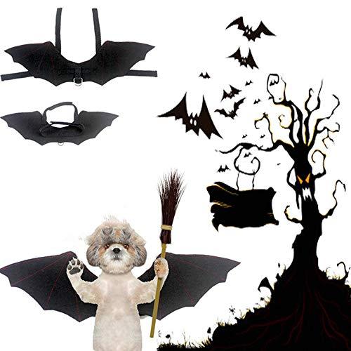 XinC Disfraces Divertidos para Perros Productos de Halloween Accesorios de Vestir Alas de murciélago para Mascotas Cool Puppy Cat Murciélago Negro resultó Llevar Disfraces de Gato para Mascotas,S