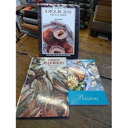 lot de 3 livres sur cuisine et recettes de poissons