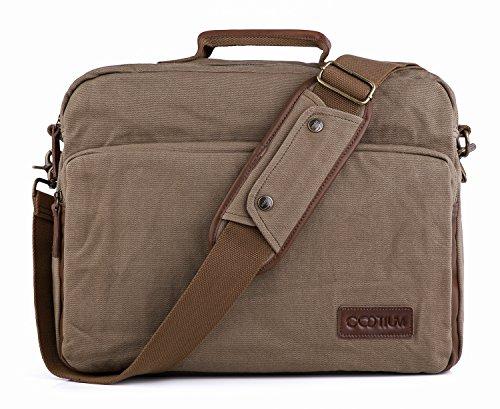 Gootium Leinwand Laptop Schultertasche/Messenger Bag mit Leder Griffe für Männer und Frauen, 40cm, Armee Grün (Satchel Classic Leather)