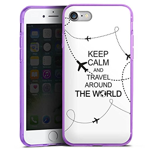 Apple iPhone 7 Silikon Hülle Case Schutzhülle Reisen Travel Keep Calm Silikon Colour Case lila