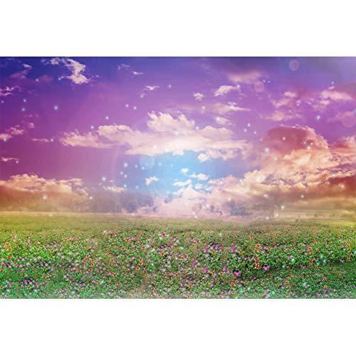 Garten, Wildblumen (YongFoto Fotohintergrund, 17,8 x 152,4 cm, aus Vinyl, verzauberter Landschaft, Garten, kleine Wildblumen, Bokeh Punkte, Blauer Himmel, Event, Party, Dekoration, Hochformat, Foto, Studio, Requisiten)