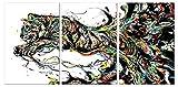 Meubletmoi Tableau Verre Acrylique - visuel Tigre bondissant - Design Graphique Contemporain - triptyque