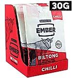 Ember Biltong - Beef Jerky - Chilli (10 x 30 g) - britisches und irisches Grassteak. High Protein Biltong Snack - kein gesunder Zucker-Snack, (Chilli, 10 x 30 g)