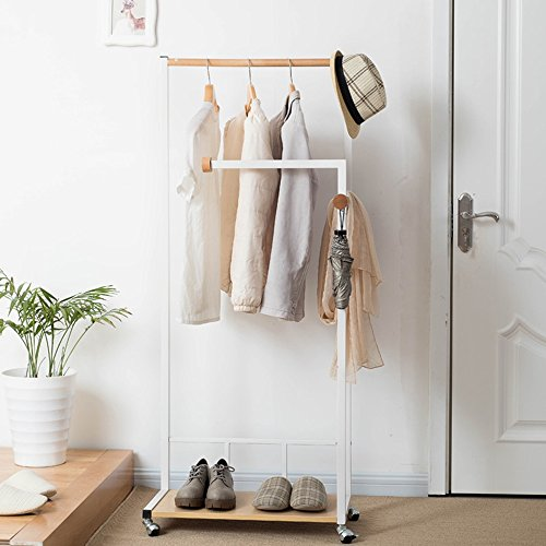 ZHIRONG Coat Rack Haushalt Floorstanding Massivholz Kleiderbügel Regale Kleiderbügel (Farbe : Weiß) (Coat Rack Halle)