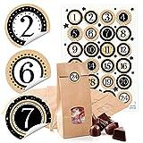 48 kleine braune Papiertüten mit Fenster und Pergamin-Einlage 10,5 x 6,5 x 29 cm + 1 bis 24 Zahlen Aufkleber Advent beige schwarz weiß basteln befüllen Kalender Weihnachten bio