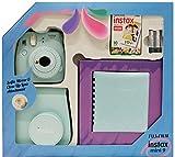 Fujifilm Instax Mini 9 - Kit (Cámara Instax Mini 9 + álbum + funda + paquete de 10 fotografías + lente + pilas), color azul