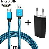 TheSmartGuard Original 2in1-Set mit HTC One Mini 2 Netzteil Ladegerät und HTC One Mini 2 Ladekabel (1 Meter / 1m) / Datenkabel/Kabel in blau - NEU mit überarbeiteter Ladegeschwindigkeit!