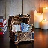 Casa Vivente - Geldschatztruhe mit individueller Gravur zur Taufe - Personalisiert mit [Namen] und [Datum] - Spardose als Taufgeschenk aus Dunklem Holz - Geschenkidee für Patenkind - Schmuckkästchen - 7