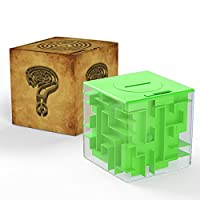 ThinkMax Money Maze, Put Cash Inside Puzzle Storage Box, Great Present for Kids and Children (Green)