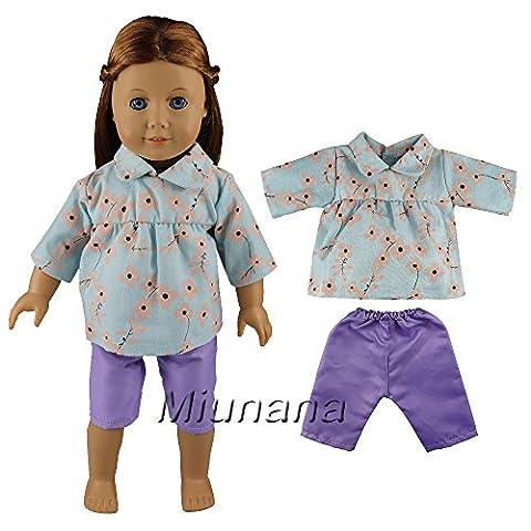 Miunana Set Kleidung Hose Puppen Kleid für 46cm Götz Götzpuppe Stehpuppe 18 Inch American Girl Dolls Goetzpuppe Süß Puppenbekleidung