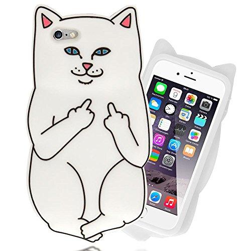 iPhone 6 6S 3D Coque Silicone de NICA, Ultra-Fine Housse Protection Cartoon Cover Slim Etui, Mince Telephone Portable Gel Case Bumper Souple pour Apple iPhone 6S 6 Smart-Phone, Designs:Unicorn White Cat