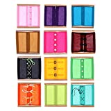 Backbayia 12 Stück Reißverschluss / Knopf / Bowknot Dressing Rahmen für Montessori Kinder Lernspielzeug