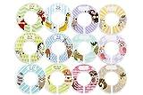 Minnebaby Lot de 12bébé Vêtements Closet Intercalaires avec 4pièces, Lot d'étiquettes pré-imprimées et blanches Taille Intercalaires