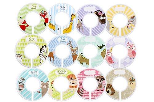 Minnebaby Lot de 12bébé Vêtements Closet Intercalaires avec 4pièces, Lot détiquettes pré-imprimées et blanches Taille Intercalaires