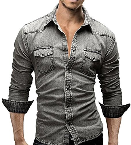 Minetom uomo t shirt tops cime moda camicia in jeans maglietta informale camicia jeans slim fit manica lunga primavera autunno grigio chiaro eu s