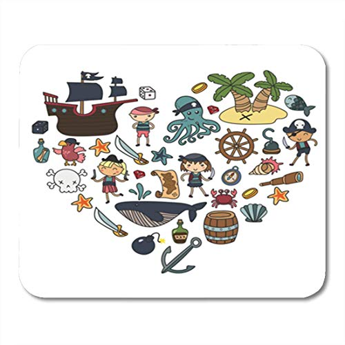 HOTNING Gaming Mauspads, Gaming Mouse Pad Children Playing Pirates Boys and Girls Kindergarten School Preschool Halloween 11.8