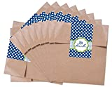25 kleine braune Papiertüten Geschenktüten Geschenk-Verpackung mit Text - Für Dich -; nette Partytüten mit Aufkleber Verschluß