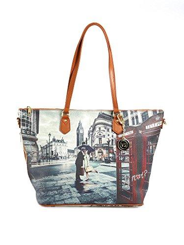Y NOT? - Borsa shopper donna clip manici shopping grande g-397 londra romantic