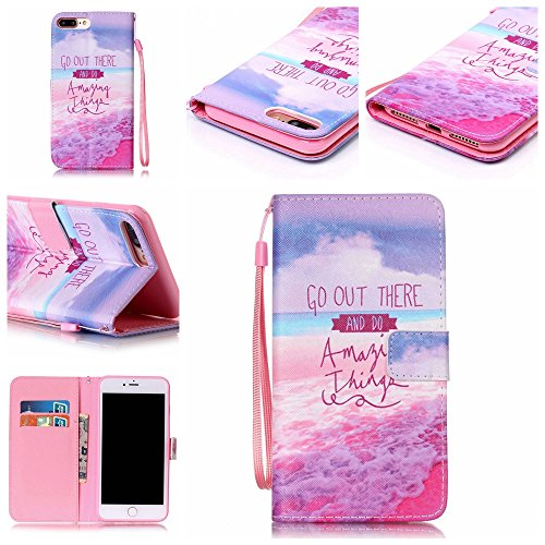 Custodia iphone 7 Plus, iphone 7 Plus Case, Cozy Hut ® Retro Colorful Drawing Art Painted Premium PU Leather Magnetic Flip Wallet Cover with Detachable Hand Lanyard & Card Slots & Stand Function for A spiaggia di sabbia