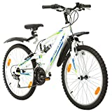 Multibrand, PROBIKE SPEED 24, 24 Zoll, 330mm, FSP Mountainbike, 18 Gang, Unisex, Kotflügel Set, Weiß Matt