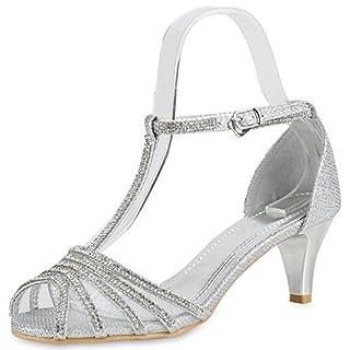 Damen Sandaletten Riemchensandaletten Strass Lack Party Schuhe Silber Glitzer Shiny 39