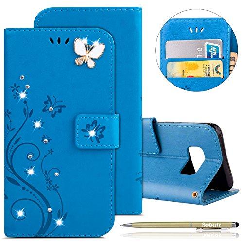 Herbests Kompatibel mit Samsung Galaxy S6 Edge Handyhülle Ledertasche Leder Flip Case Glitzer Bling Strass Blumen Schmetterling Brieftasche Leder Handytasche Bookstyle Schutzhülle,Blau Bling Strass Case