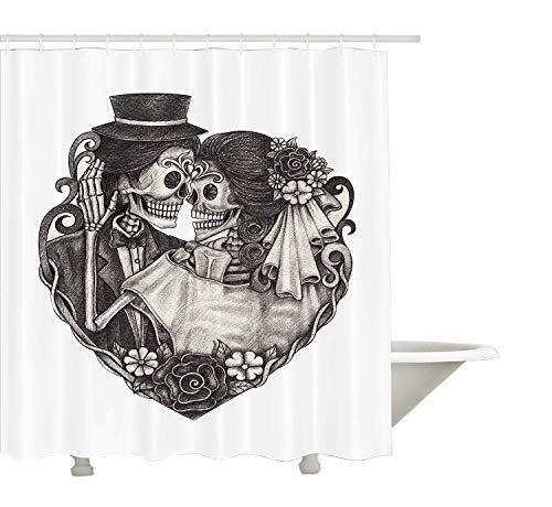 """Yeuss Cortina de ducha de tatuaje, dise?o de calavera, ideal para bodas, d¨ªa de los muertos, novios y novios, impresi¨n vintage de obras de arte, color gris ceniza de 72""""x80"""""""