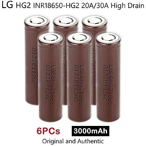 6 x LG HG2 INR18650-HG2 3000mAh 20A/30A Alta Scarico Ricaricabile Li(NiMnCo)O2 Batteria 3.7V Genuine