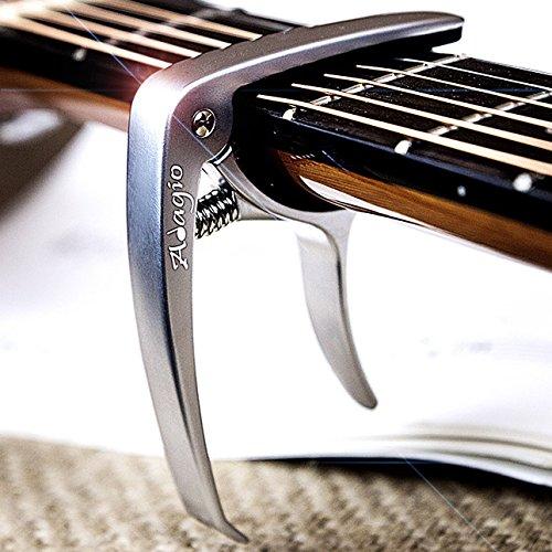 Cejilla Adagio profesional, de alta calidad, para guitarras acústicas y eléctricas, con desbloqueo rápido, para cambiar las clavijas, de color...