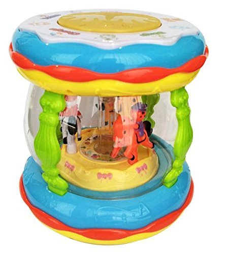 Baby Bucket Wonder Land Merry-Go-Round Musical Drum with 10 Songs ,3 Stories ,16 types of Different Music,3 D Lights & Feather Touch Buttons
