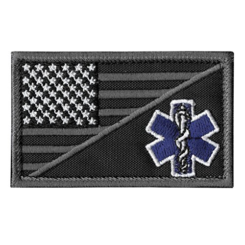 2AFTER1 ACU EMS EMT Star of Life USA Flag Subdued Paramedic Medical Morale Tactical Army Gear Fastener Patch -