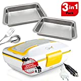Spice Amarillo inox Trio PLUS Scaldavivande portatile Lunch Box 40 W coperchio con guarnizione, Doppio Voltaggio Double Voltage 220V - 12V + 2 Vaschette Acciaio inox estraibili
