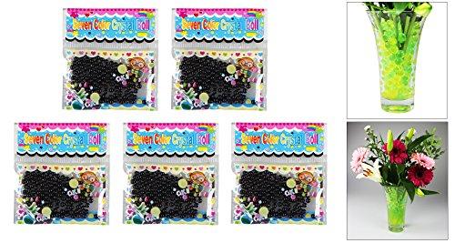 com-four® Deko Kristall Gel Kugeln - Dekorieren Sie Ihre Blumenvasen und versorgen gleichzeit Ihre Pflanzen (Schwarz - 5 Beutel)