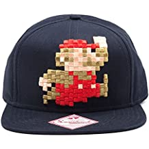 NINTENDO Super Mario Bros Pixel 8-Bit Mario Snapback Gorra de béisbol (azul)