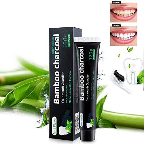 Aktivkohle Zahnpasta,Natürliche Zahnaufhellung und Zahnreinigung,Bambuskohle Schwarze Zahnpasta, Fluoridfreie Bamboo Aktivkohle Zahncreme Weiß- Whitening Zahnpasta Für Empfindliche Zähne …