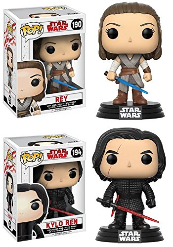 Funko POP! Star Wars The Last Jedi: Rey + Kylo Ren – Stylized Vinyl Bobble-Head Figure Set NEW
