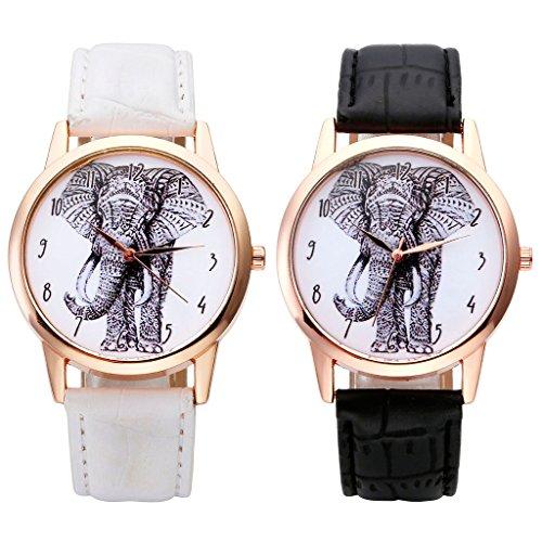 JSDDE Uhren,Vintage Damen Armbanduhr Skizze Elefant Zifferblatt Armbanduhr Leder Armband Analog Quarz Uhr,Schwarz - 5