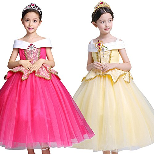 Fille Robe Princesse Aurora Tutu Jupe Multi-Couches Déguisement de Canaval Costume de Photographie Cérémonie Anniversaire Fête Soirée Spectacle Enfants 3-10 Ans