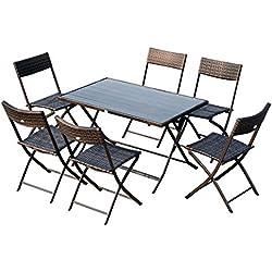 Outsunny Ensemble Salon de Jardin 6 Personnes Grande Table rectangulaire Pliable + 6 chaises Pliantes métal résine tressée PC Chocolat