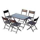 Outsunny Ensemble Salon de Jardin 6 Personnes Grande Table rectangulaire Pliable + 6...